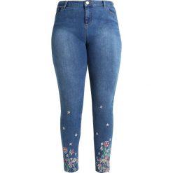 Dorothy Perkins Curve FLORAL EMBROIDED FRONT AND BACK Jeans Skinny Fit blue denim. Niebieskie jeansy damskie Dorothy Perkins Curve. W wyprzedaży za 188,10 zł.