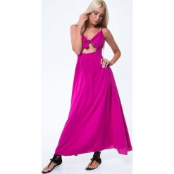 Sukienka maxi z wiązaniem amarantowa ZZ338. Różowe sukienki marki numoco, l, z dekoltem w łódkę, oversize. Za 79,20 zł.