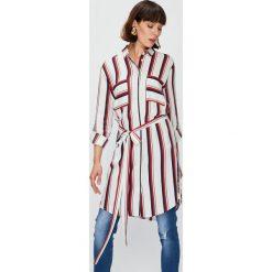 Answear - Koszula Falling In Autumn. Szare koszule wiązane damskie ANSWEAR, l, w paski, z materiału, klasyczne, z klasycznym kołnierzykiem, z długim rękawem. W wyprzedaży za 99,90 zł.