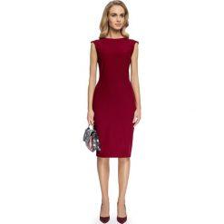 Odzież damska: Sukienka z przeszyciami przy rękawach – bordowa