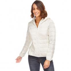 Kurtka puchowa w kolorze kremowym. Białe kurtki damskie pikowane marki Snowie Collection, s, z puchu. W wyprzedaży za 159,95 zł.