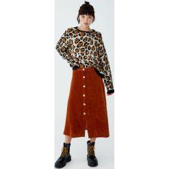 Sweter w panterkę z kontrastowymi ściągaczami. Szare swetry klasyczne damskie Pull&Bear, z kontrastowym kołnierzykiem. Za 139,00 zł.