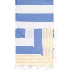 Kąpielówki męskie: Chusta hammam w kolorze niebiesko-żółtym – 180 x 100 cm