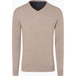 Swetry klasyczne męskie: Andrew James – Sweter męski z dodatkiem kaszmiru, beżowy
