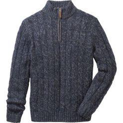 Sweter ze stójką Regular Fit bonprix ciemnoniebieski melanż. Niebieskie golfy męskie marki bonprix, m, melanż. Za 89,99 zł.