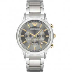 Zegarek EMPORIO ARMANI - Renato AR11047  Silver/Silver. Szare zegarki męskie marki Emporio Armani, l, z nadrukiem, z bawełny, z okrągłym kołnierzem. Za 1349,00 zł.