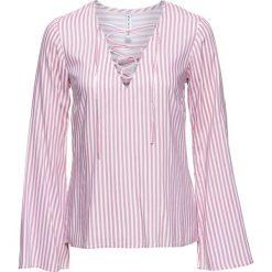 Bluzki asymetryczne: Bluzka ze sznurowaniem bonprix biało-jasnoróżowy w paski
