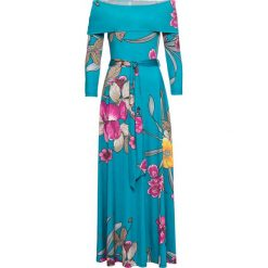 """Sukienka z dekoltem """"carmen"""" bonprix turkusowy w kwiaty. Niebieskie sukienki letnie bonprix, w kwiaty, z kołnierzem typu carmen. Za 149,99 zł."""