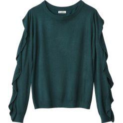 Swetry damskie: Sweter z okrągłym wycięciem szyi z falbankami