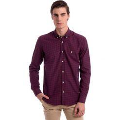 Koszule męskie na spinki: Koszula w kolorze granatowo-czerwonym