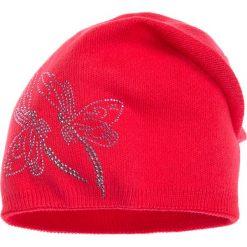 Malinowa czapka z ważkami QUIOSQUE. Różowe czapki zimowe damskie QUIOSQUE, na zimę, z dzianiny. W wyprzedaży za 39,99 zł.