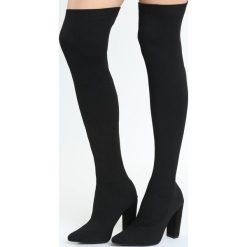 Czarne Kozaki Sublimity. Czarne buty zimowe damskie marki Born2be, ze szpiczastym noskiem, na wysokim obcasie, na słupku. Za 119,99 zł.