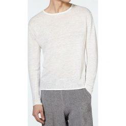 """Swetry klasyczne męskie: Lniany sweter """"Juliansbay"""" w kolorze kremowym"""