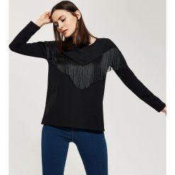 Bluzki asymetryczne: Bluzka z frędzlami - Czarny