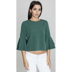 Zielona Krótka Bluzka z Rozkloszowanymi Rękawami. Zielone bluzki z odkrytymi ramionami Molly.pl, l, w jednolite wzory, z jeansu, biznesowe, z dekoltem na plecach, z krótkim rękawem. Za 125,90 zł.