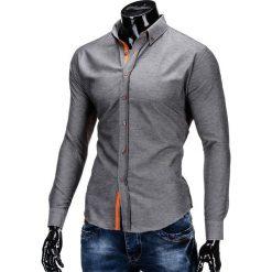 Koszule męskie na spinki: KOSZULA MĘSKA Z DŁUGIM RĘKAWEM K300 – GRAFITOWA