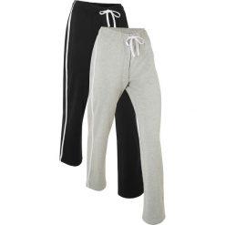 Spodnie dresowe (2 pary), długie, Level 1 bonprix czarny + jasnoszary melanż. Czarne bryczesy damskie bonprix, melanż. Za 109,98 zł.
