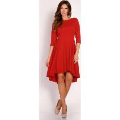 Czerwona Sukienka z Szerokim Asymetrycznym Dołem. Czarne sukienki asymetryczne marki bonprix, do pracy, w paski, biznesowe, moda ciążowa. Za 139,00 zł.