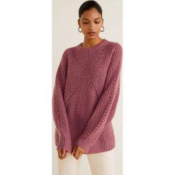 Mango - Sweter Lisbeth. Różowe swetry klasyczne damskie Mango, l, z dzianiny, z okrągłym kołnierzem. Za 199,90 zł.