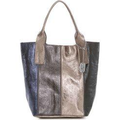 Torebki klasyczne damskie: Skórzana torebka w kolorze srebrno-granatowym – 35 x 33 x 18 cm