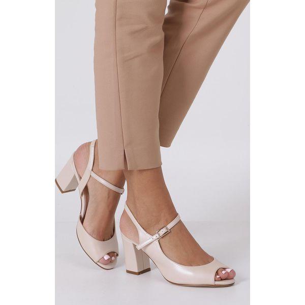 040edab4842493 Kremowe sandały na szerokim obcasie perła Sergio Leone SK808 - Białe ...