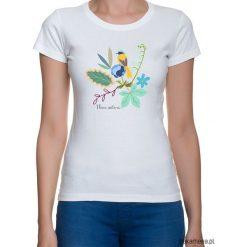 Koszulka damska. kwiaty i ptaki. Szare t-shirty damskie Pakamera, w kwiaty. Za 79,00 zł.