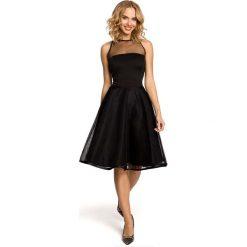 Czarna Wieczorowa Sukienka z Prześwitującym Modnie Karczkiem. Czerwone sukienki koktajlowe marki bonprix, kopertowe. Za 135,90 zł.