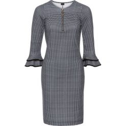 Sukienki: Sukienka z rękawami z wolantem bonprix czarno-biały wzorzysty