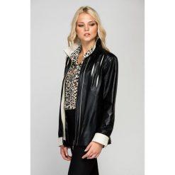 Odzież damska: Skórzana kurtka w kolorze czarno-beżowym