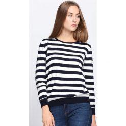 Biało-Granatowy Sweter Lean On Me. Białe swetry klasyczne damskie marki Born2be, l, z dekoltem na plecach. Za 59,99 zł.