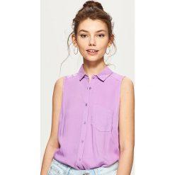 Odzież damska: Gładka koszula bez rękawów – Fioletowy