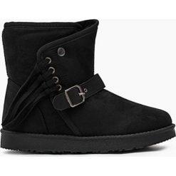Czarne Śniegowce Protectorate. Czarne buty zimowe damskie marki Kazar, z nubiku, przed kolano, na wysokim obcasie. Za 49,99 zł.