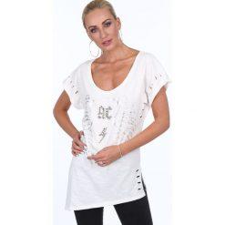 Bluzka z ćwiekami i cyrkoniami kremowa ZZ1116. Białe bluzki z odkrytymi ramionami Fasardi, l. Za 69,00 zł.