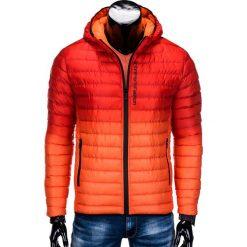 KURTKA MĘSKA ZIMOWA PIKOWANA C319 - CZERWONA. Czerwone kurtki męskie pikowane Ombre Clothing, na zimę, m, z poliesteru. Za 129,00 zł.