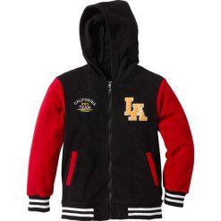 Bluza bejsbolówka z polaru bonprix czarno-ciemnoczerwony. Czarne bejsbolówki męskie marki bonprix, w paski, z dresówki. Za 59,99 zł.