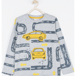 Koszulka. Szare t-shirty chłopięce z długim rękawem FAST LANE, z nadrukiem, z bawełny. Za 49,90 zł.