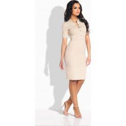 Elegancka dopasowana sukienka z guziczkami beżowy - 2