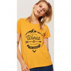 T-shirt z nadrukiem - Żółty. Szare t-shirty damskie marki House, l, z dzianiny. Za 29,99 zł.
