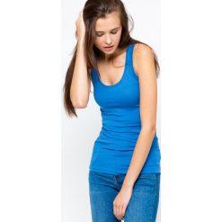Bluzka basic bokserka niebieska. Niebieskie bluzki z odkrytymi ramionami Yups, l, z bawełny, młodzieżowe. Za 29,99 zł.