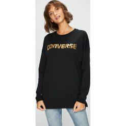 Converse - Bluzka. Czarne bluzki z odkrytymi ramionami Converse, l, z nadrukiem, z bawełny, casualowe, z okrągłym kołnierzem. Za 159,90 zł.
