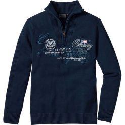 Sweter ze stójką Regular Fit bonprix ciemnoniebieski. Niebieskie golfy męskie marki bonprix, l, z aplikacjami. Za 74,99 zł.