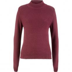 Sweter bawełniany ze stójką i strukturalnym wzorem bonprix bordowy. Niebieskie swetry klasyczne damskie marki ARTENGO, z elastanu, ze stójką. Za 74,99 zł.