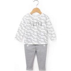 Komplet bluza + spodnie, 0-3 latka. Szare bluzy niemowlęce marki La Redoute Collections, z nadrukiem, z bawełny. Za 104,96 zł.