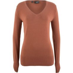 Swetry damskie: Sweter z dekoltem w serek bonprix orzechowy