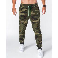 SPODNIE MĘSKIE DRESOWE P644 - MORO. Szare spodnie dresowe męskie Ombre Clothing, moro, z bawełny. Za 55,00 zł.