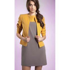 Odzież damska: Żółty Wyjątkowy Żakiet bez Kołnierza