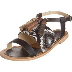 Rzymianki damskie: Sandały w kolorze czarno-jasnobrązowym