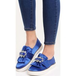 Trampki damskie slip on: Niebieskie Slip On Never Too Late
