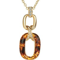 Biżuteria i zegarki: Pozłacany naszyjnik z zawieszką – dł. 46 cm