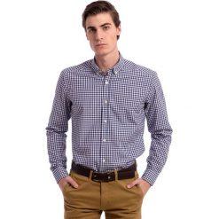 Koszule męskie na spinki: Koszula w kolorze granatowo-białym